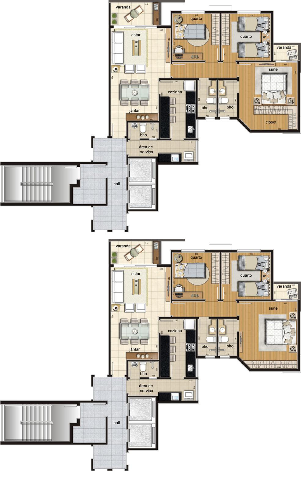 Edifício San Marino - Apto Filadélfia com 105m2 de 3 quartos e 2 vagas